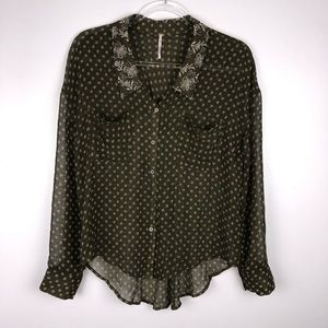 Free People Sheer Button Down Top Small I3765